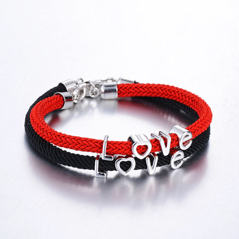 Blue Sweet Couple Bracelets, Black / Red Rope Bracelets Set for Women and Men, Love Charms Bracelet in Sterling Silver, Matching His and Hers Jewelry for Couples