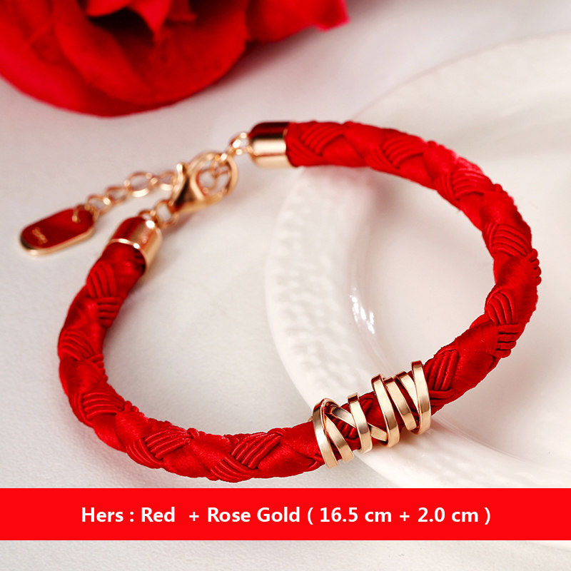 Coise Bracelets Black Red Weave Rope For Women And Men Rose