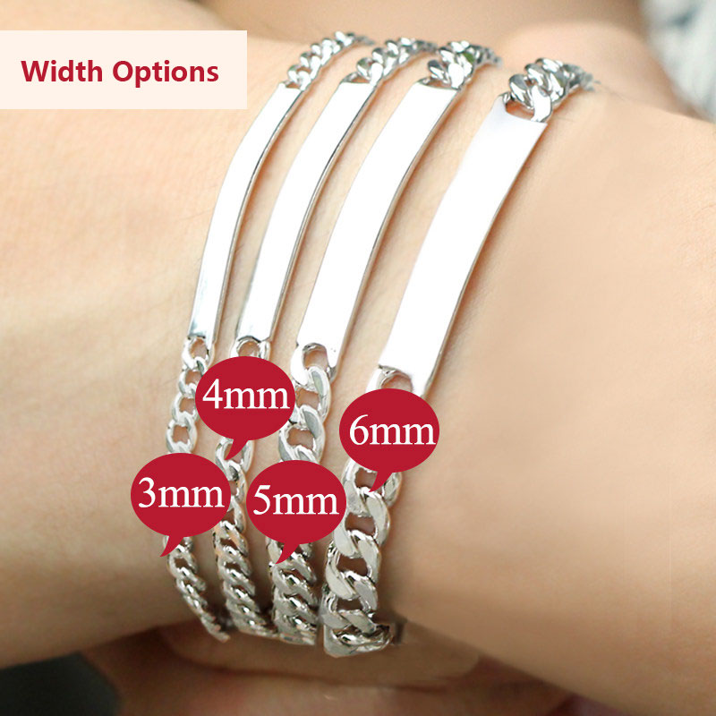 Coise Bracelets Personalized Id Tag Name Set Curb Link Engravable Bracelet In