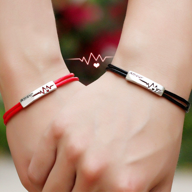Coise Couple Bracelets, Black / Red Leather Bracelets for Men and Women, Amour + Heartbeat Tag Bracelet in Sterling Silver, Matching His and Hers Jewelry Set for Couples