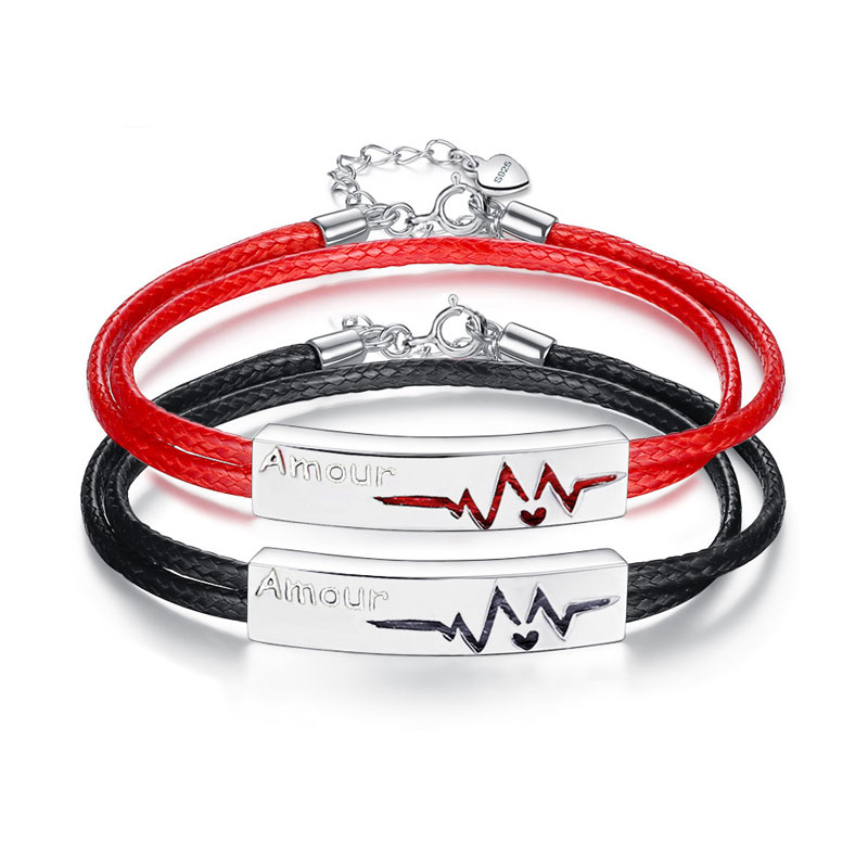 Coise Bracelets Black Red Leather For Men And Women Amour