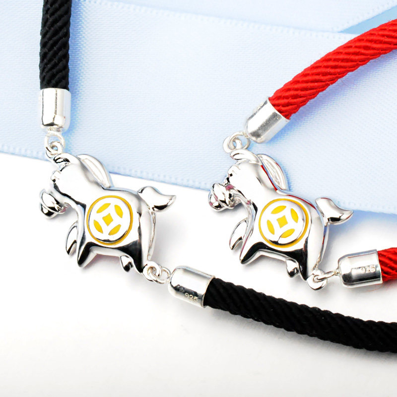 Blue Sweet Couple Bracelets, Red / Black Rope Bracelets Set, Cute Horse + Gold Coin Bracelet in 925 Sterling Silver, Matching His and Hers Jewelry for Couples