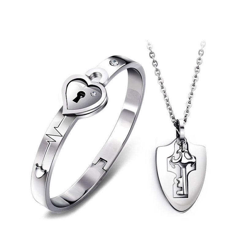 df4c69d19f OuYan Couples Bracelets, Key to My Heart Bangle and Pendant Set in Titanium  Steel,