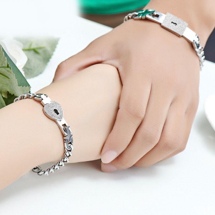 Teamo His And Hers Bracelets Lock Key Set For Boyfriend Friend