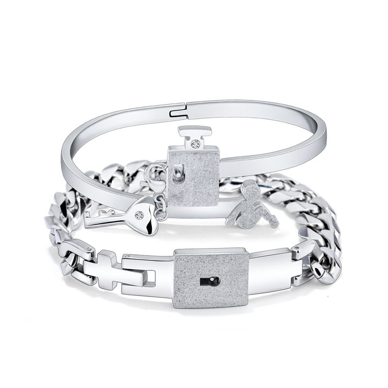 Teamo His and Hers Bracelets, Key to My Heart Bangle and Bracelet Set in Titanium Steel, Lock and Key Bracelets for Women and Men, Matching Couple Jewelry for Him and Her