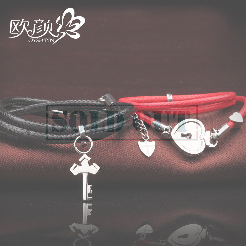 OuYan Couples Bracelets, Lock and Key Wrap Bracelets Set, Black / Red Leather Bracelet, Flower / Heart Charm Bracelet, Matching His and Hers Jewelry for Couples