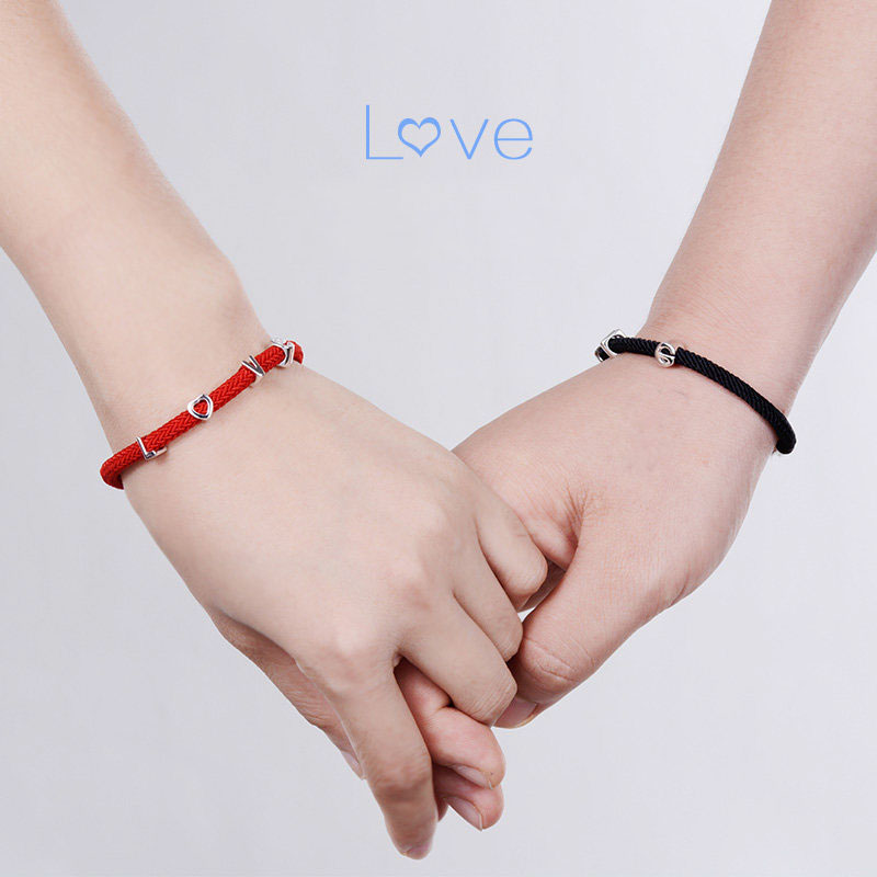 Blue Sweet Couple Bracelets, Red Rope and Love Charm Bracelet for ...