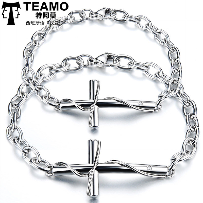 Teamo His And Hers Bracelets Rose Gold Black Cross With Cz Diamond