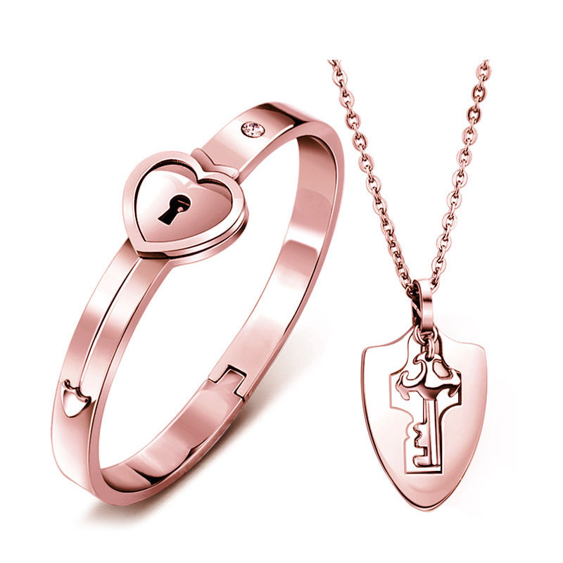 Ouyan S Bracelets Rose Gold Lock Key Bangle And Pendant Set In Anium Steel