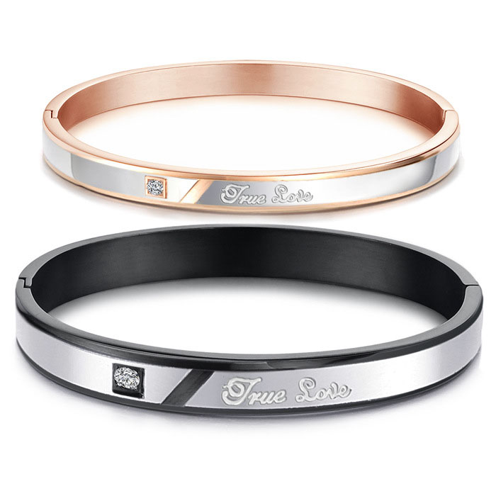 Teamo His and Hers Bracelets, True Love Engraved Bangles Set, Personalized Black / Rose Gold Bangle Bracelet with CZ Diamond, Matching Jewelry for Couples