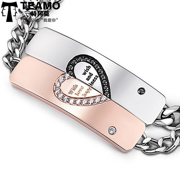 Teamo His and Hers Bracelets, Black / White CZ Diamond Heart Tag Bracelets Set, Wish Love and Happiness Engraved Titanium Steel Bracelet, Matching Jewelry for Couples