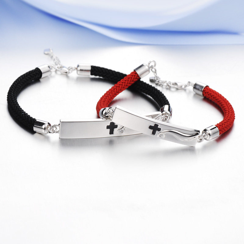 Blue Sweet Couple Bracelets, Black / Red Rope + Sterling Silver Tag Bracelet, CZ / Wing / Cross Bracelets Set, Matching His and Hers Jewelry for Couples