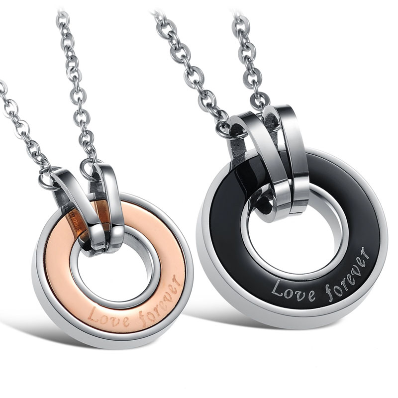 Teamo His and Hers Necklaces, Rose Gold / Black Disc Pendants, Love Forever Engraved Interlocking Circle Necklace in Titanium Steel, Matching Couple Jewelry Set