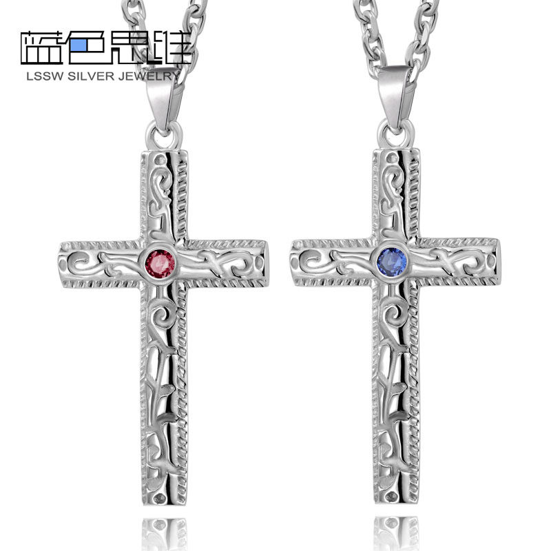 blue sweet necklaces vintage cross pendant for