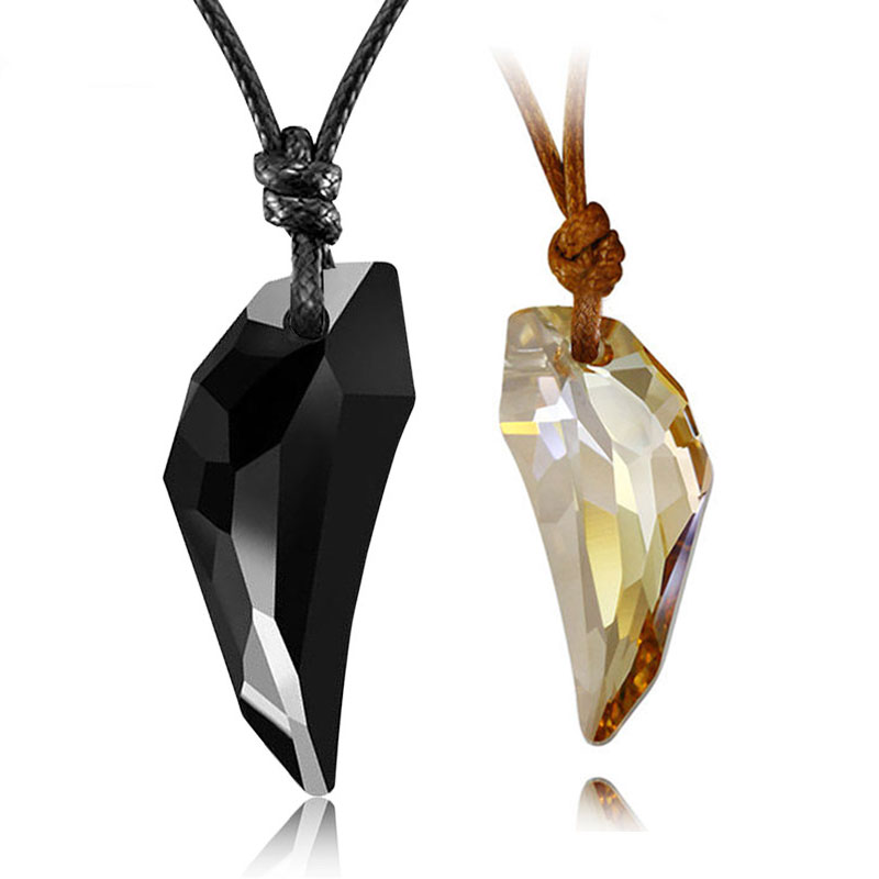 Couple Necklaces, Black / Champagne / White / Copper Wolf Tooth Shaped Austrian Crystal Pendants Set with Cotton Rope, Matching His and Hers Jewelry for Couples
