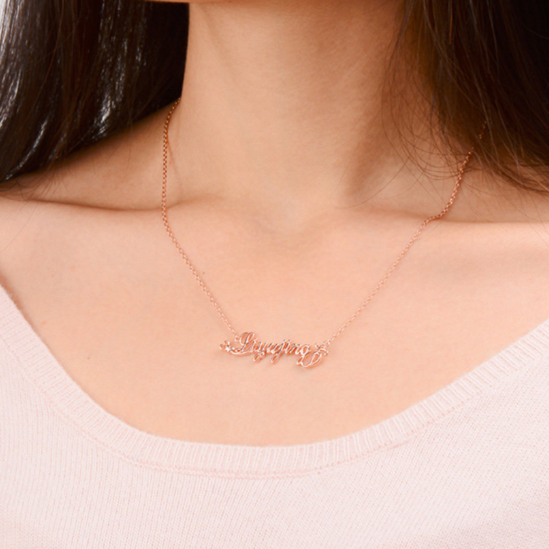 Blue sweet couple necklaces personalized custom diy name for Rose gold personalized jewelry