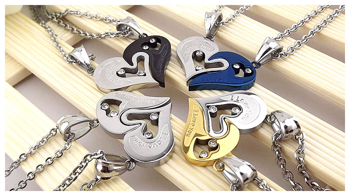 Ouyan Couples Necklaces Gold Silver Black Blue
