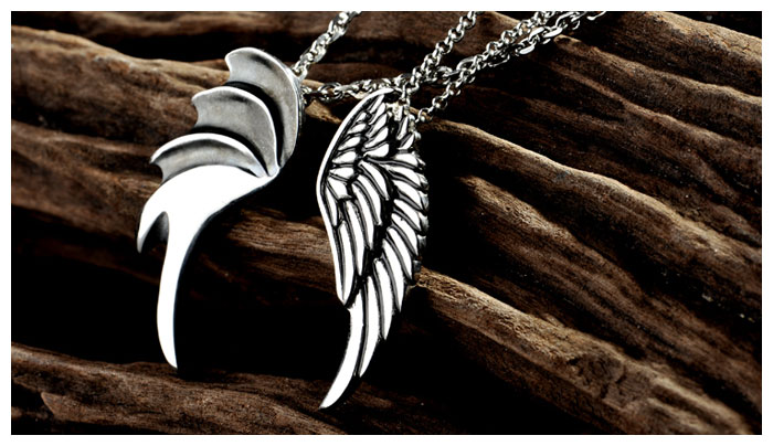 Couple Necklaces Demon And Angel Wing Pendants Set