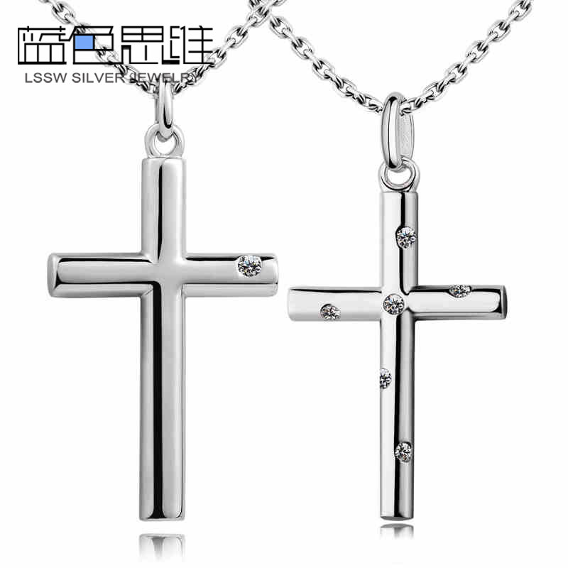 625e04d412 Blue Sweet Couple Necklaces, Cross Necklaces for Men and Women, Sterling  Silver Cylinder Cross Pendants with CZ Diamonds, Matching His and Hers  Jewelry Set ...