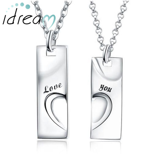 Matching Necklaces, Love You Engraved Tag Pendants Set, Sterling Silver Personalized Heart Puzzle Necklaces for Women and Men, His and Hers Jewelry for Couples