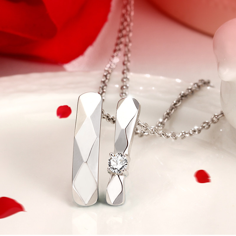 Coise Couple Necklaces, Faceted Tag Pendant for Men, Personalized Tag Necklace in 925 Sterling Silver, Matching Couples Jewelry Set for Him and Her