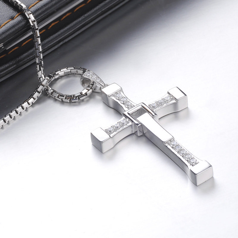 Blue sweet couple necklaces fast and furious cross pendant for men sterling silver movie cross necklace with diamond accents matching jewelry set blue sweet couple necklaces fast and furious cross pendant for men sterling silver movie aloadofball Gallery