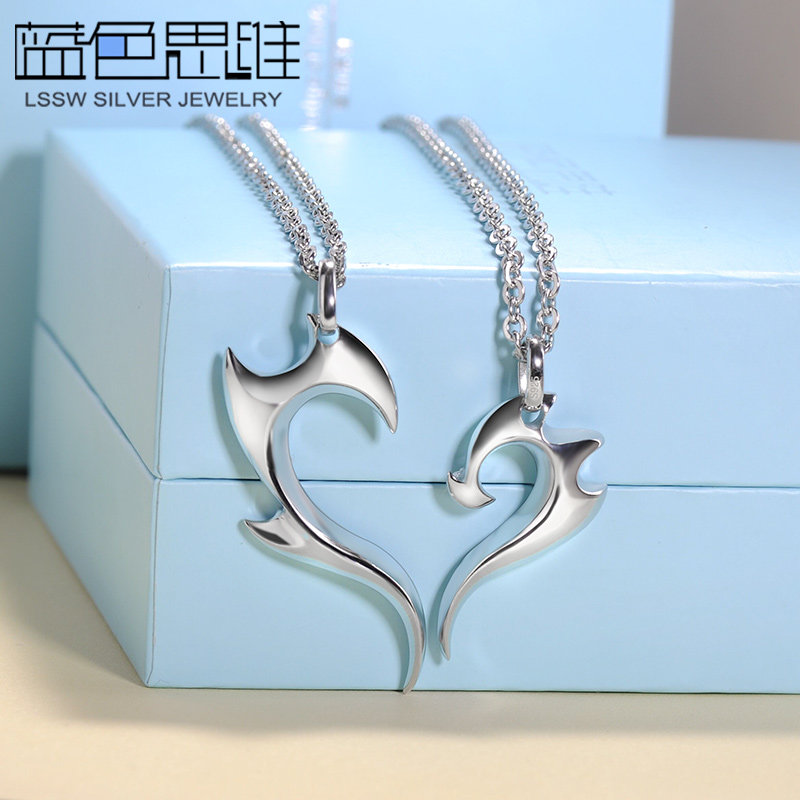 Blue Sweet Couple Necklaces, Fire Half Heart Necklaces for Women and Men, Heart Puzzle Pendants Set in Sterling Silver, Matching His and Hers Jewelry for Couples