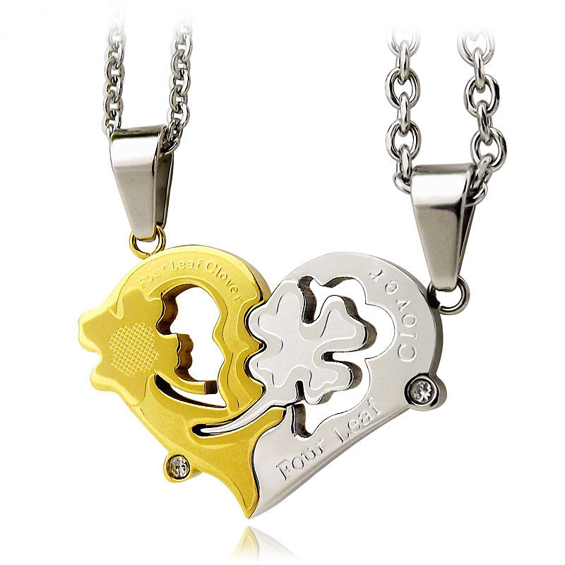 Ouyan couples necklaces four leaf clover heart puzzle necklaces ouyan couples necklaces four leaf clover heart puzzle necklaces set silver gold aloadofball Images