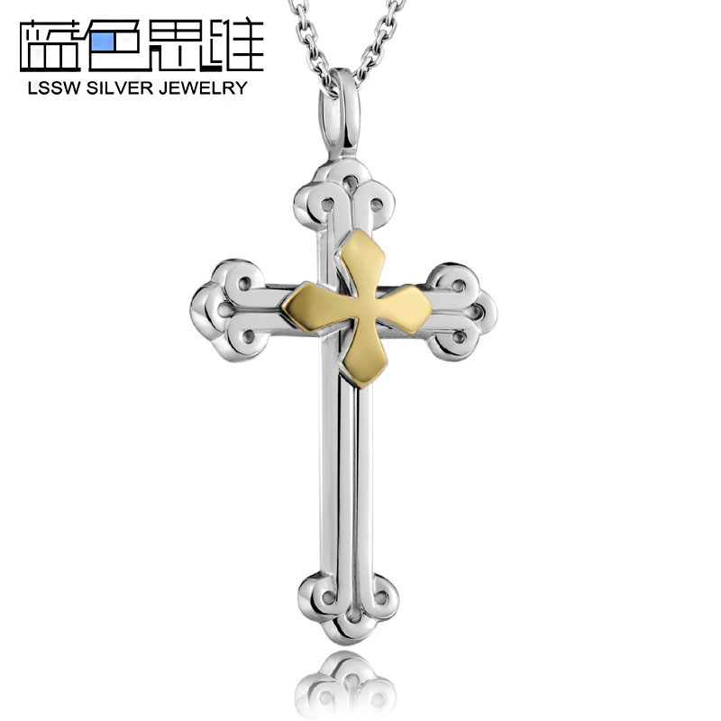 24aa147a0 Blue Sweet Couple Necklaces, Gold + Silver Double Cross Necklace for Men,  Sterling Silver