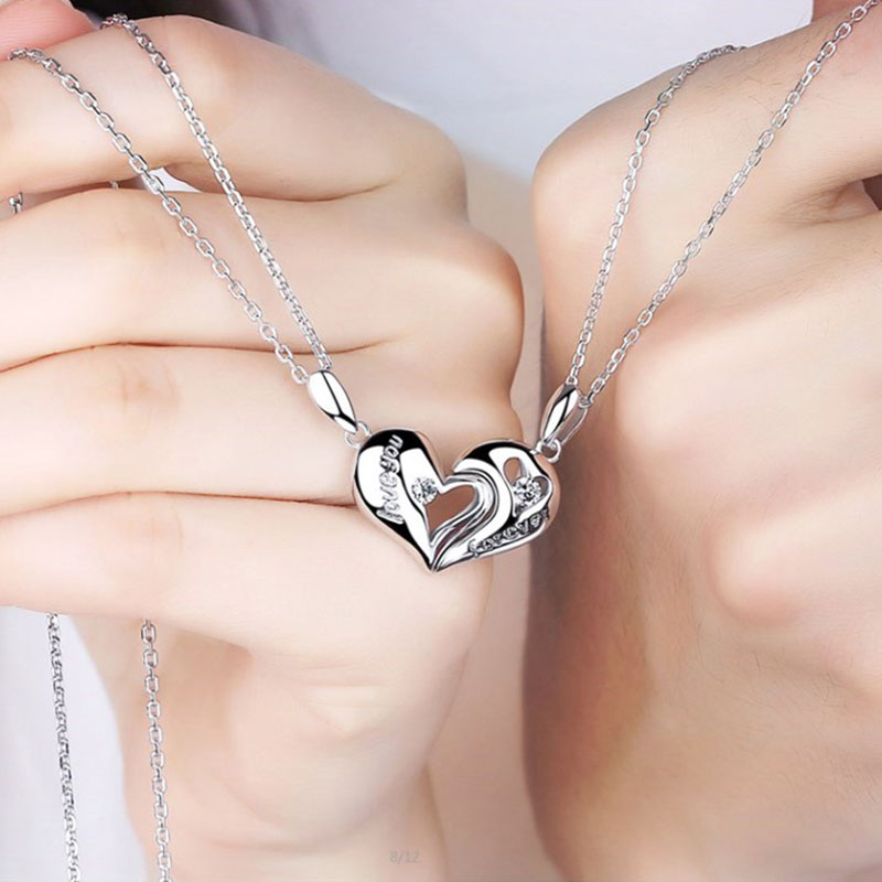 OuYan Couples Necklaces, Interlocking Open Heart Puzzle Pendants Set in Sterling Silver, Love You and Miss You Engraved Necklaces for Him and Her, Matching Magnetic Jewelry Set with Diamond