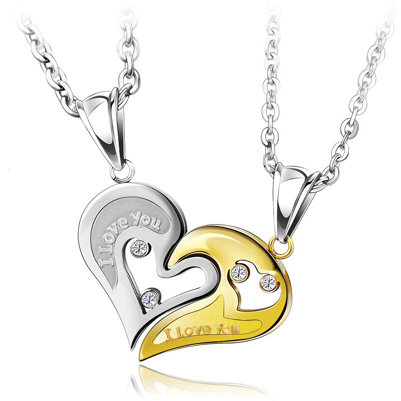 1c5d432037 OuYan Couples Necklaces, Gold / Silver / Black / Blue Interlocking Open  Heart Puzzle Necklaces