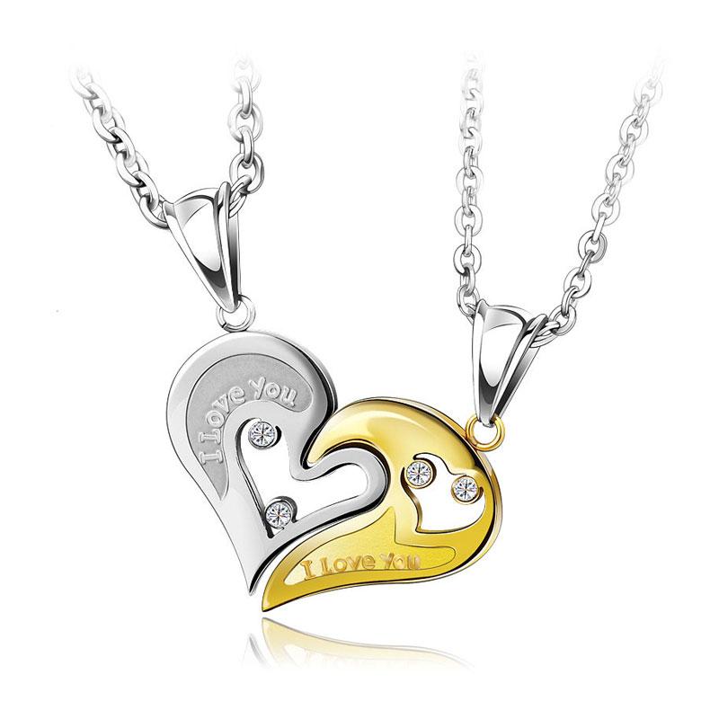 69077255e9 OuYan Couples Necklaces, Gold / Silver / Black / Blue Interlocking Open  Heart Puzzle Necklaces