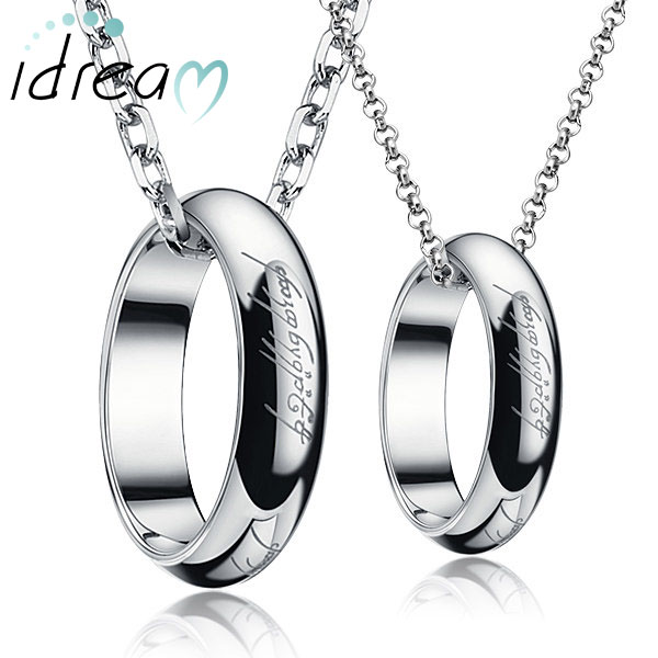 Idream couple necklaces lord of the ring engraved circle pendants idream couple necklaces lord of the ring engraved circle pendants bands set silver aloadofball Gallery