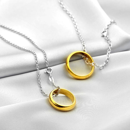Idream couple necklaces lord of the ring engraved circle for Couples matching jewelry sets