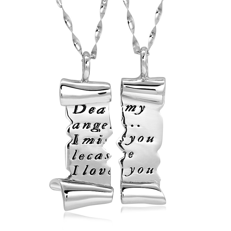 Matching Necklaces, Split / Broken Love Letter Necklaces Set in Sterling Silver, Black Engraved Tag Pendants for Women and Men, Couples Jewelry for Him and Her