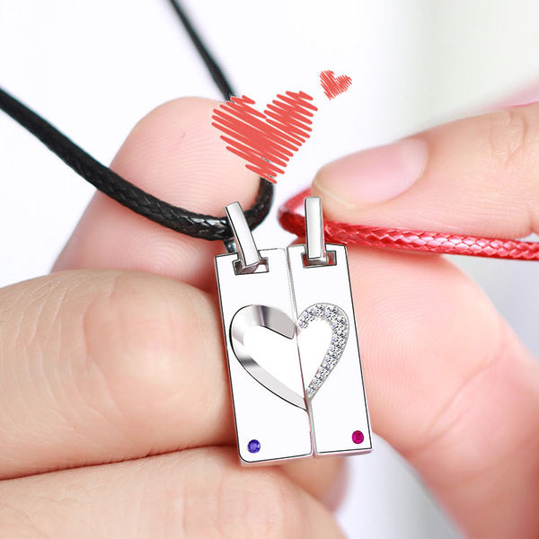 Coise Couple Necklaces, Heart Puzzle Tag Necklaces Set with CZ Diamond Accents, Personalized Pendants in Sterling Silver, Matching His and Hers Jewelry for Couples