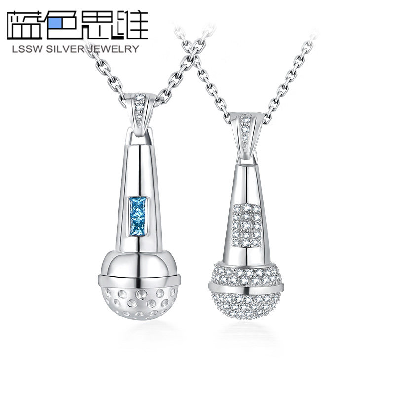 3c3cb8129 Blue Sweet Couple Necklaces, Microphone Necklaces Set with CZ and Blue  Topaz, Cute Music Pendants in Sterling Silver, Matching His and Hers Jewelry  for ...