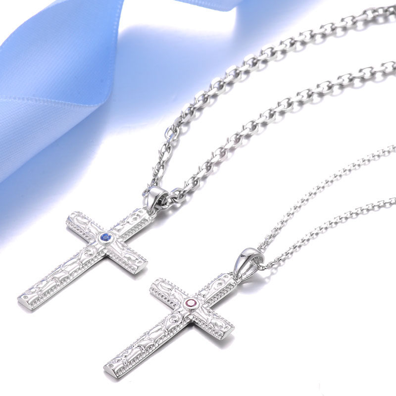 Blue sweet couple necklaces vintage cross necklace for women blue sweet couple necklaces vintage cross necklace for women sterling silver cross pendant with aloadofball Image collections
