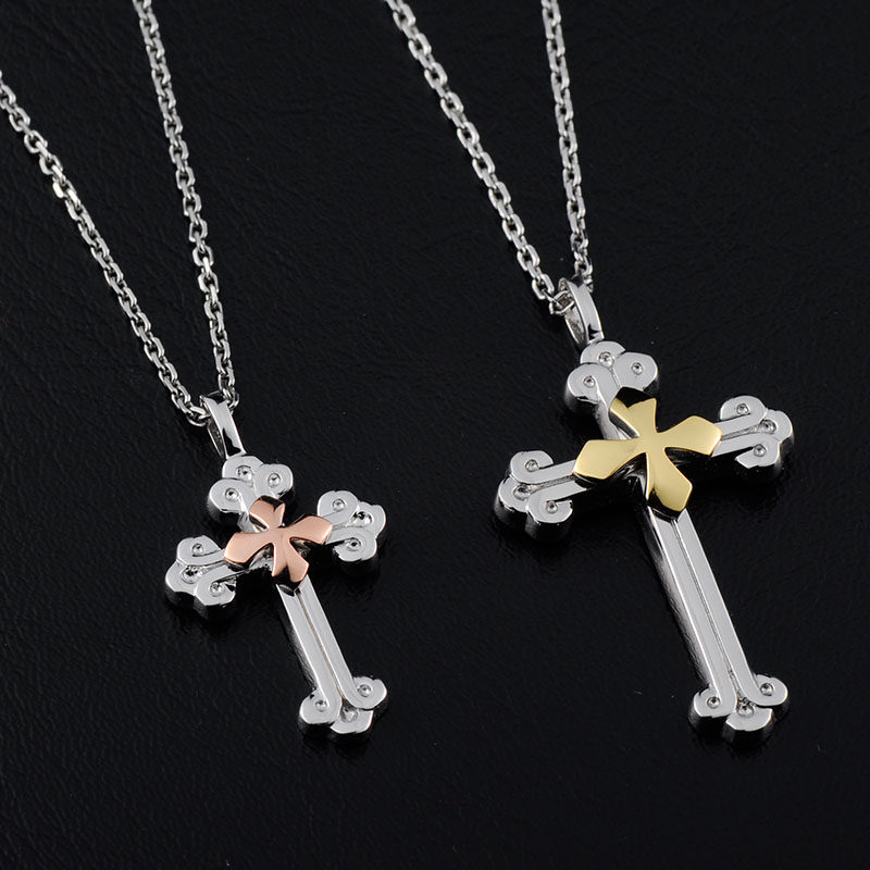 Blue Sweet Couple Necklaces Rose Gold Cross Pendant for Women