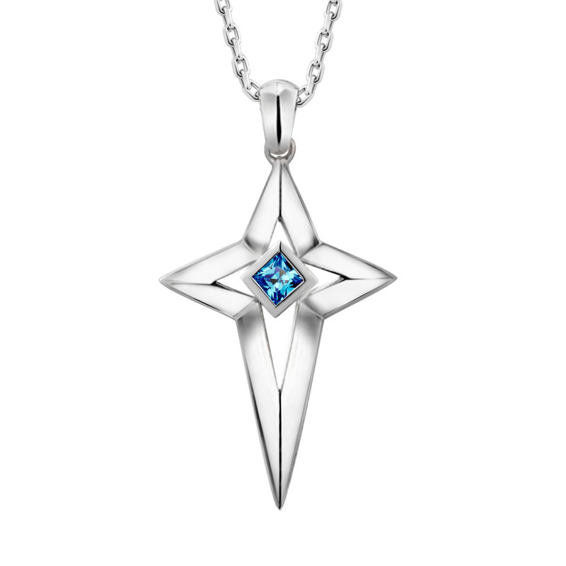 Blue Sweet Couple Necklaces, Star / Cross Gemstone Necklace for Women, 925 Sterling Silver Pendant with Blue Topaz, Matching Couples Jewelry Set for Him and Her