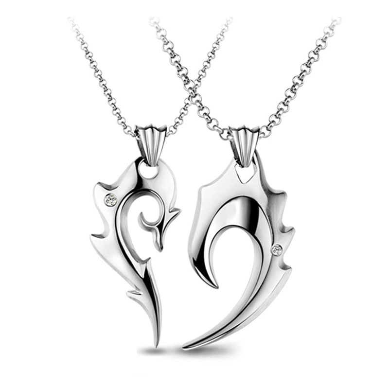 e247efc098 Couple Necklaces, Half Heart Necklaces for Women and Men, Titanium Steel  Fire Heart Puzzle
