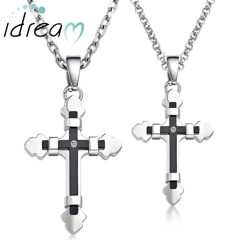 Black + White Cross Necklaces Set for Women and Men, Two-Tone Titanium Steel Cross Pendant Necklace with CZ Diamond, Matching Couple Jewelry for Him and Her