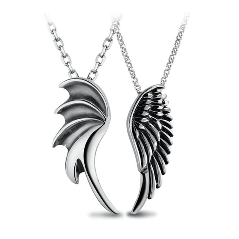 Couple Necklaces, Demon and Angel Wing Pendants Set, Antiqued Finish Vintage Necklace in Titanium Steel / Sterling Silver, Matching His and Hers Jewelry for Couples