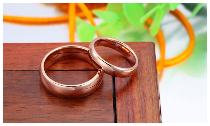 Rose Gold Plated Tungsten Wedding Bands Set Domed Rose
