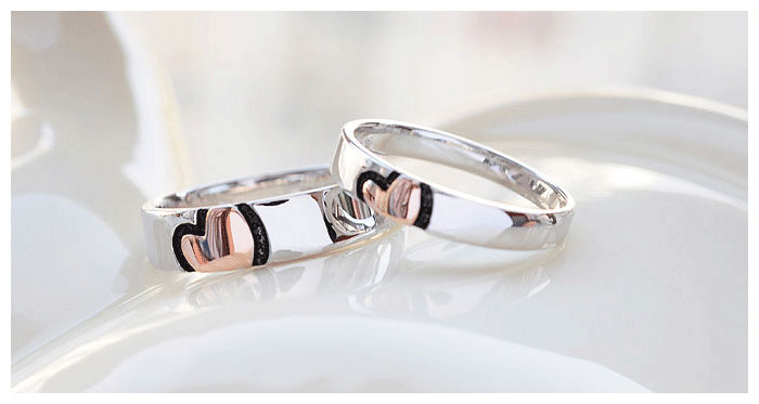 Cut Love Heart Wedding Ring Band In Sterling Silver