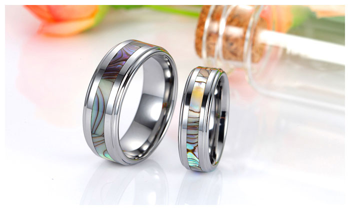 mother of pearl inlaid tungsten wedding bands set for