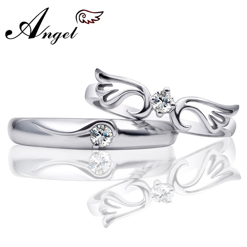 Angel Wing + Crown Couple Rings Set for Women and Men, 925 Sterling Silver Cute Promise Rings with CZ Diamond, Matching His and Hers Jewelry for Couples