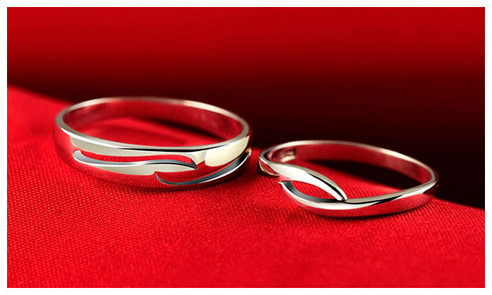 Simple Wave Couple Promise Rings Set for Women and Men ...