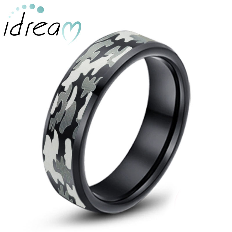 Camo Laser Engraved Tungsten Wedding Band, Black Beveled-Edge Tungsten Carbide Wedding Ring Band - 6mm - 8mm, Matching His and Hers Jewelry Set for Couples