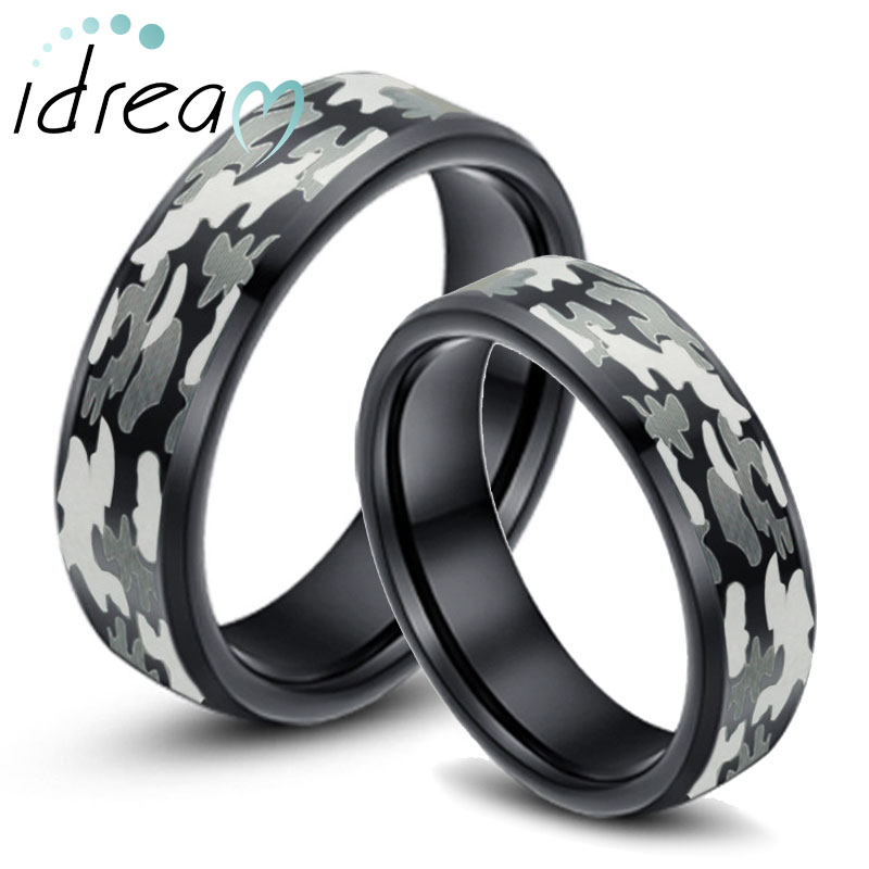 Camo Laser Engraved Tungsten Wedding Bands Set, Black Tungsten Carbide Wedding Ring with Beveled Edges - 6mm - 8mm, Matching His and Hers Jewelry for Couples